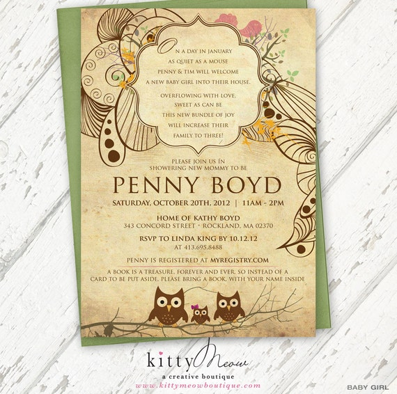Vintage Owl Baby Shower Invitations: Items Similar To Green & Cream And Brown, Rustic, Vintage