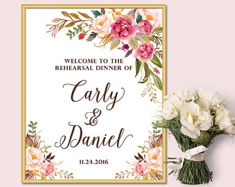 Welcome to the Rehearsal Dinner Sign, Floral Welcome Sign, Printable File Only