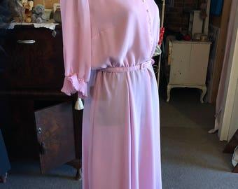 1960s sun ray pleats pink dress