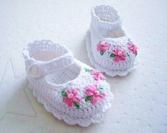 Pink Flower White Cotton Crochet Baby Booties - Ready to Ship