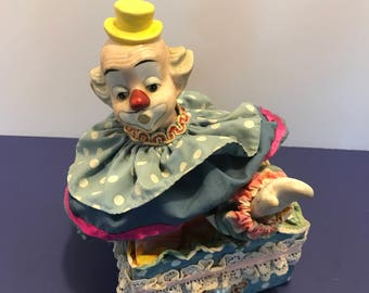 Vintage Porcelain Clown Music Box Nursery Decor Kids Room Collectible Keepsake Gift Baby Shower Gift Whimsical Baby Toy