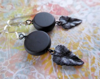 Black Onyx, Leaf Charm and Sterling Silver Earrings