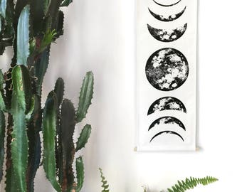 Moon Tapestry | Moon Phase Tapestry, Lunar Tapestry, Boho Decor, Moon Wall Hanging, Nursery Decor, Boho Tapestry, Moon Phases Space Tapestry
