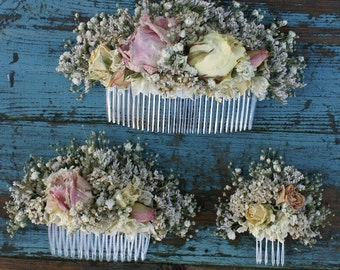 Blush Rose Garden Dried Flower Hair Comb