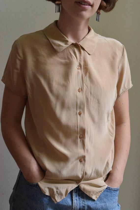 Tan Silk Short Sleeve     Print Optional