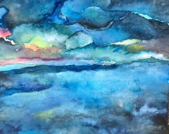 Stormy Seas.  Original Watercolor Abstract Painting, 8x10 Wall-Word Art with Blue, Pink, Gray, Yellow. Customize it!