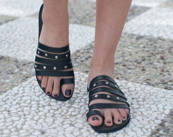 Hand made leather sandals, Ancient sandals, Black sandals, Greek sandals, Women sandals, Unique sandals, Custom colour, NY leather stories