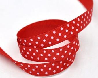 2 meters fancy Ribbon 10 mm red dot grosgrain
