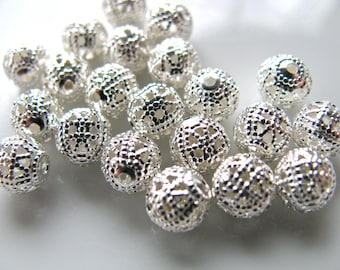 Metal beads, 21 beads, 6mm, sparkly beads, plated metal, Jewelry supply B-735