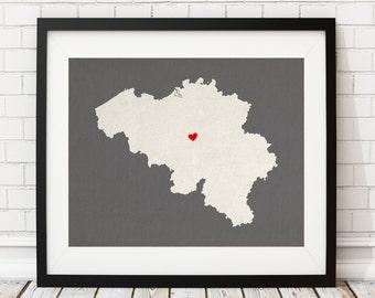 Belgium Silhouette Print, Customized Country Map Art, Personalized Gift, Belgium Art, Custom Belgium Print, Heart Map, Belgium Map, Love Map