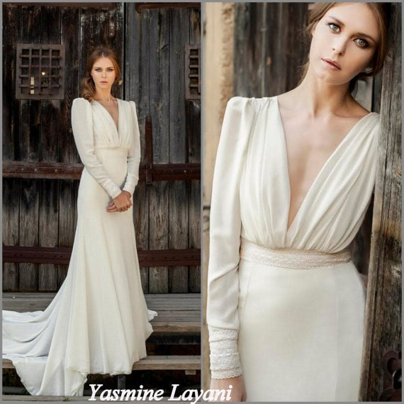 Long Sleeve Wedding Dress Vintage Wedding Dress Bridal Gown