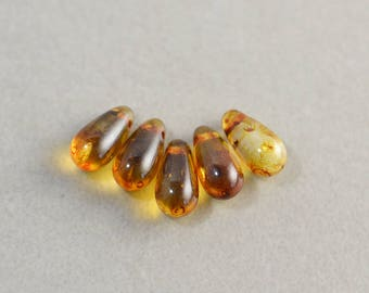 Brown Amber Teardrop Beads, Glass 10mm Beads, Five