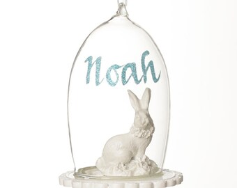 Personalised Glass Cloche with Sitting Bunny