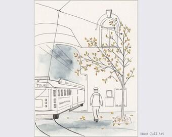 Tram drawing, tree drawing, ink and watercolour art, Christchurch tram NZ souvenir, tram painting, autumn art, fall colours, not a print