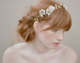Bridal hair vine, beaded flowers, headpiece - Pearl and crystal blossom twig headpiece - Style 354 - Ready to Ship