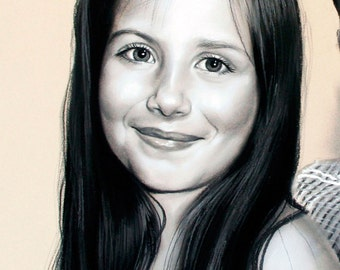 Custom Portrait,Black and white, portrait from photo, pastel, handmade painting, drawing, family portraits,original painting, girl portrait
