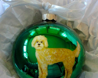 Labradoodle (Yellow) Dog Hand Painted Christmas Ornament - Can Be Personalized with Name