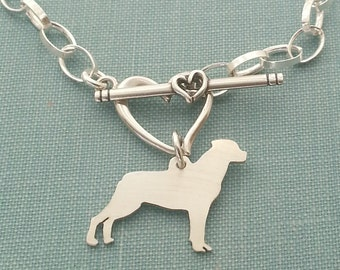 Rottweiler Chain Bracelet, Sterling Silver Personalize Pendant, Breed Silhouette Charm, Rescue Shelter, Memorial Gift