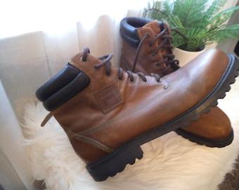Vintage leather Work Boots ~ FILA ~ Distressed ~ Hiker Grunge ~ NICE Men's 13