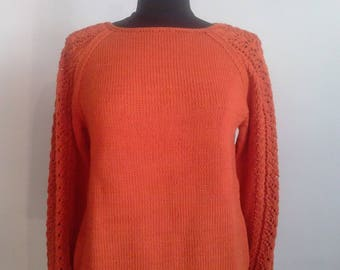 Women sweater, T.38/40 in pure cotton, openwork pattern on sleeves