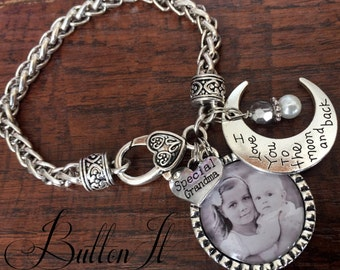 PHOTO bracelet, Mother's Day gift, Gifts for Grandma, GRANDMA jewelry, Grandma bracelet, Mom bracelet I love you to the moon and back Sister
