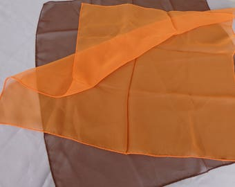 Scarves - Tangerine and Brown Scarf - Chiffon - Beautiful condition