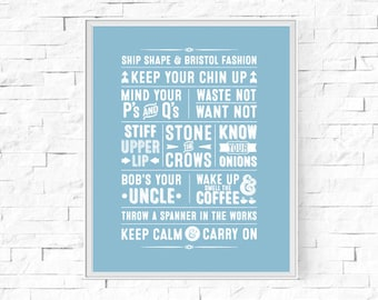 "Printable British Sayings Typography Print - Great Britian - Word Poster - Home Decor -  Instant Download - Wall Art - 8""x10"" and A4."