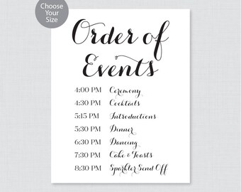 Wedding Rose Gold Order Of Events Sign Wedding Reception
