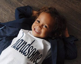 """Children's """"handsome"""" White Crew Neck T-shirt with Navy lettering"""