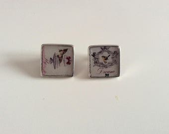 Earrings white, black, pink and red square Cabochon.