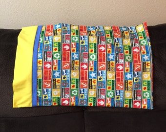 Paw Patrol Handmade Cotton Pillowcasees in Bright Colors With Yellow and Blue Trim