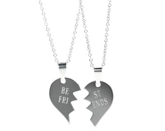 Broken Heart Necklace - Best Friend Necklace - Personalized Bff Necklace - Heart Necklace - Gift For Best Friend - Partner In Crime Necklace