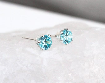 Blue Topaz Silver Stud Earrings, Silver Gemstone Post Earrings, Birthstone Earrings, Gift for Her