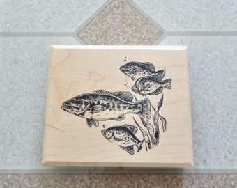 Perch - Wild Animal - Wildlife - Water Life - Game Fish - Sport Fish  - Swimming Fish - Mounted Rubber Stamp - Wood Block - SUT - H1025