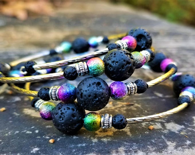 The Galaxy Rainbow Stardust Memory Wire Bracelet