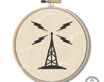 Machine Embroidery Design Vintage Radio Tower Wall Art Hoop Art Original Digital File Instant Download 4x4 Hoop Fits 6 Inch Round Frame