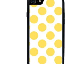 iPhone 5 5s 6 6s 6+ 6s+ SE 7 7+ iPod 5 6 Phone Case, Yellow Polka Dots Design, Plus