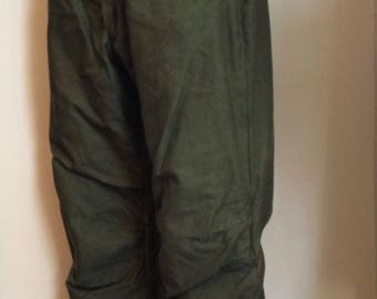 U.S. Navy Military Olive Drab Wool Lined Cold Weather Pants/Trousers/ 1960s/1970s/ Large/(35-38)