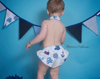Sail boats banner tie and bloomers set