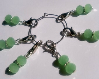 Green Beaded Stitch Markers for Crochet