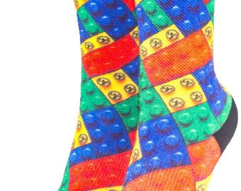 Kids Youth Colorful Building Block Socks