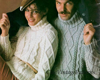 Aran Sweaters ... His & Her Jumpers ... Stylish Ladies and Men's Pullovers ... PDF Knitting Pattern ... Classic Polo Neck Knitted Sweaters