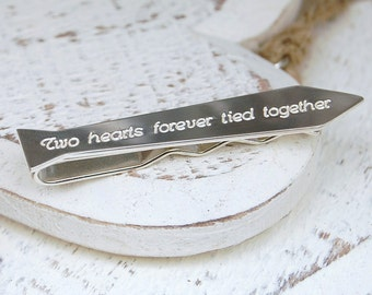 Personalized Silver Tie Shaped Tie Slide - Father's Day Tie Slide - Personalised Father's Day Gift - Sterling Silver Dad Tie Slide