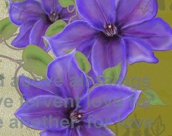 "Original digital floral painting by Nancy Long ""Clematis Love""  A floral painting with purple Clematis, green background.Nancylongdesigns"