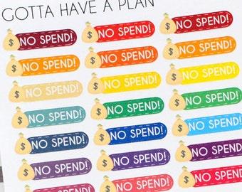 Planner Stickers No Spend for Erin Condren, Happy Planner, Filofax, Scrapbooking