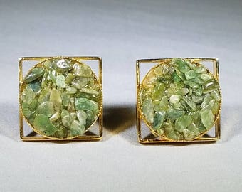 Green-Rocks-Cuff-links-Gold-Vintage-Jewelry-Men's Accessories