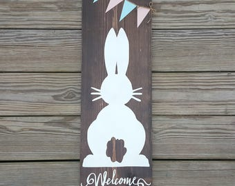 Rustic Easter Bunny Welcome Sign, Wooden Easter Sign, Spring Sign, Easter Decor, Rustic Spring Decor, Bunny Decor, Front Porch Sign