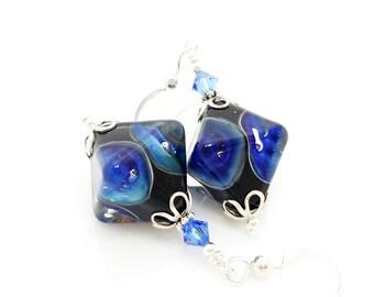 Blue Earrings, Lampwork Earrings, Glass Earrings, Glass Bead Earrings, Glass Bead Jewelry, Unique Earrings, Dangle Earrings, Crystal Shape
