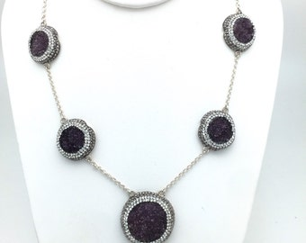 Deep Purple Druzy and Swarovski Crystal Necklace