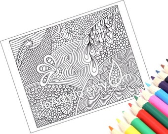 Coloring Page Zentangle Inspired Printable, Instant Download, Paisley Zendoodle Pattern, Page 51